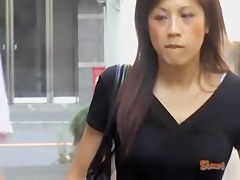 Skirt sharking with a little bit of pussy hair of an Asian