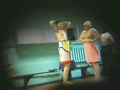 Chubby amateurs topless shot by spy cam in a distance