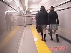 Cute Japanese schoolgirls in a kinky sharking video