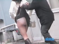 Mature Asian has a public skirt sharking experience.