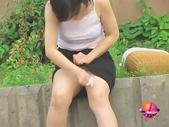 Hot milf miss wet t-shirt with a water gun sharked in Japan