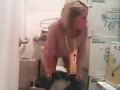 Toilet voyeur peeing with the cute blonde amateur girl