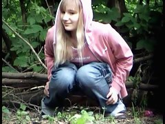 Voyeur pee cam shoots blonde and brunette in the wood