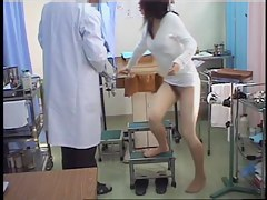 Adorable Japanese bimbo drilled during a pussy exam