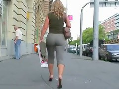 Sexy elegant babe in street candid video