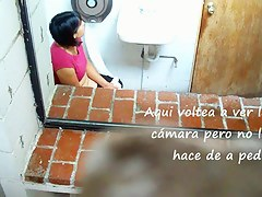 Black haired chubby girl taking a piss and blowing her nose