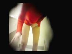 Hidden camera man filming pissing girls in bathroom