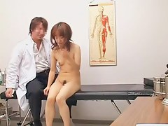 Skinny Japanese fingered and toyed during a medical exam