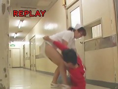 Man sharked Japanese nurse skirt and kissed her knee
