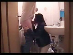 Blowjob in the private bathroom candid amateur video