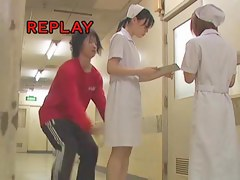 Nurse from sharking movie wearing blue bikini panty