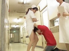 Lewd man fell on knees and sharked nurse skirt