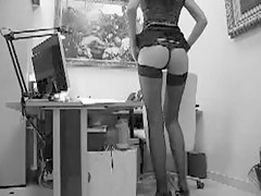 Leggy stockings girl gets drilled on the office spy camera