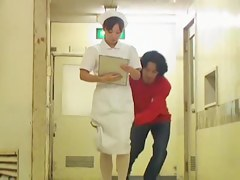 Man sharked nurse uniform and showed her pantyhose ass