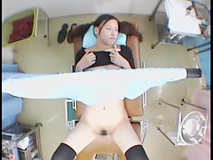 Hardcore fingering for a cute Jap during the pussy exam