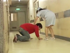 Japanese nurse pink panty view on the sharking video