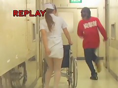 Nurse with the wheelchair gets her uniform dress sharked