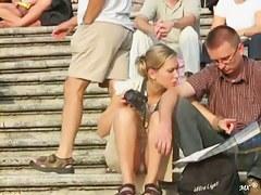 Blonde tourist babe offers an amazingly hot upskirt view