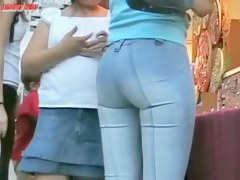 Smooth looking latina babe in europe wearing tight jeans