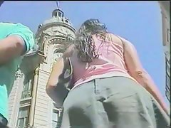 Street voyeur catches two girls showing off their asses in public
