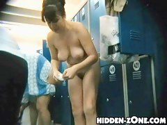 Busty fem is close to spycam in shower change room
