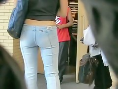 Cheeky women with awesome asses are filmed in public places