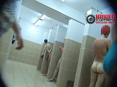 Hidden voyeur cam xxx video from a busy showers room